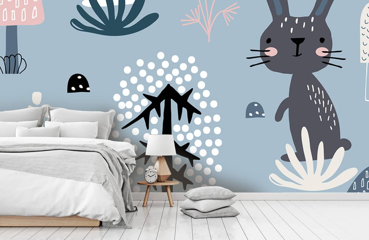 Pattern Motif de lapin bleu 11
