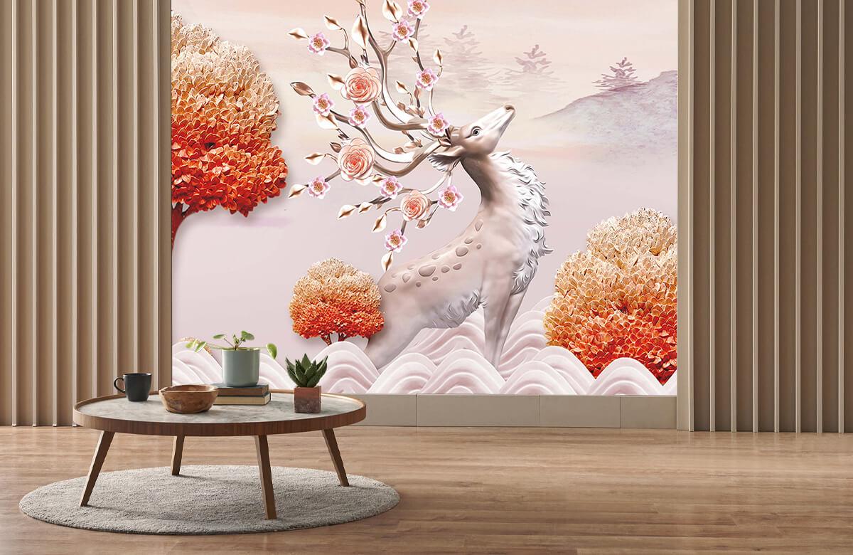 wallpaper Cerf avec des fleurs 3