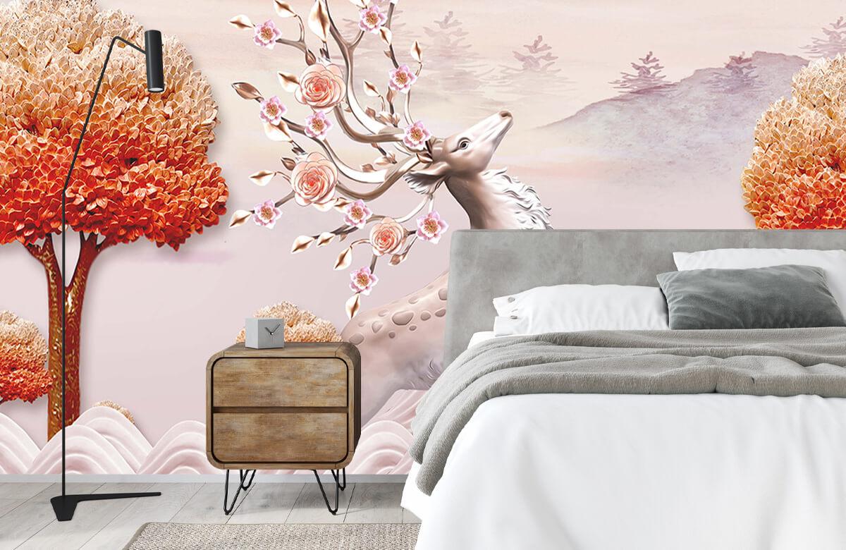 wallpaper Cerf avec des fleurs 4