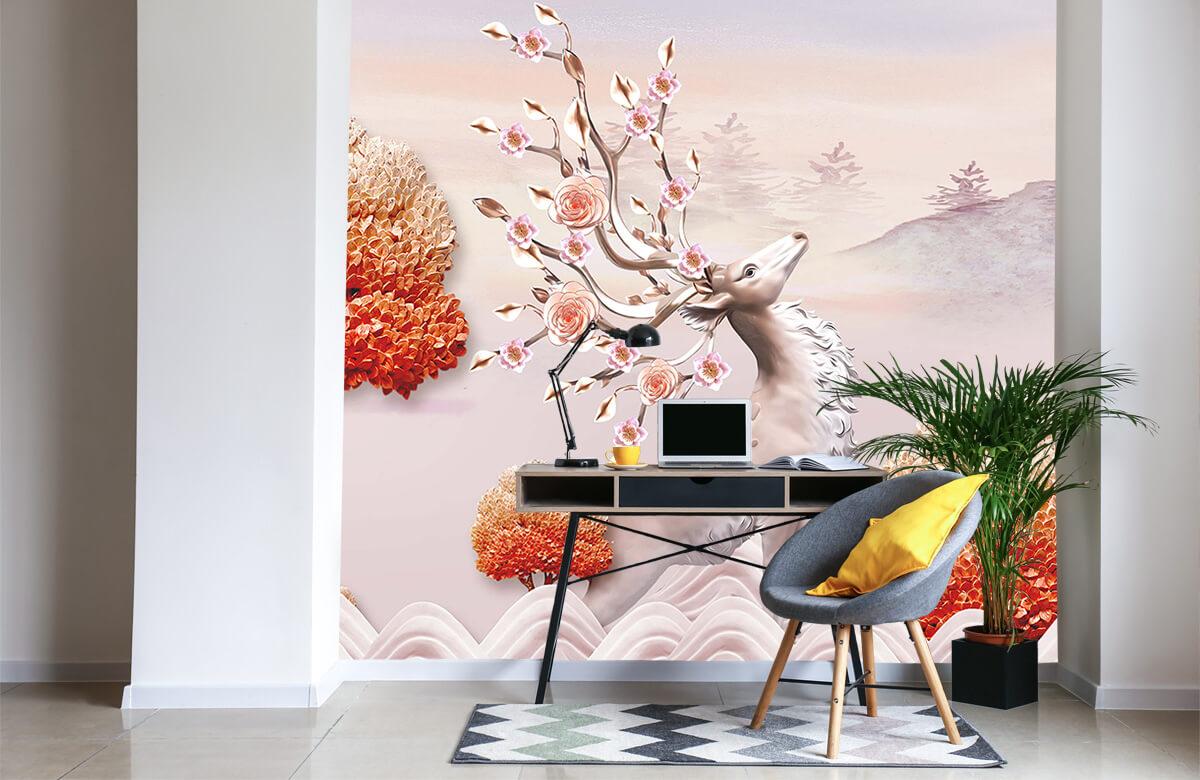 wallpaper Cerf avec des fleurs 1