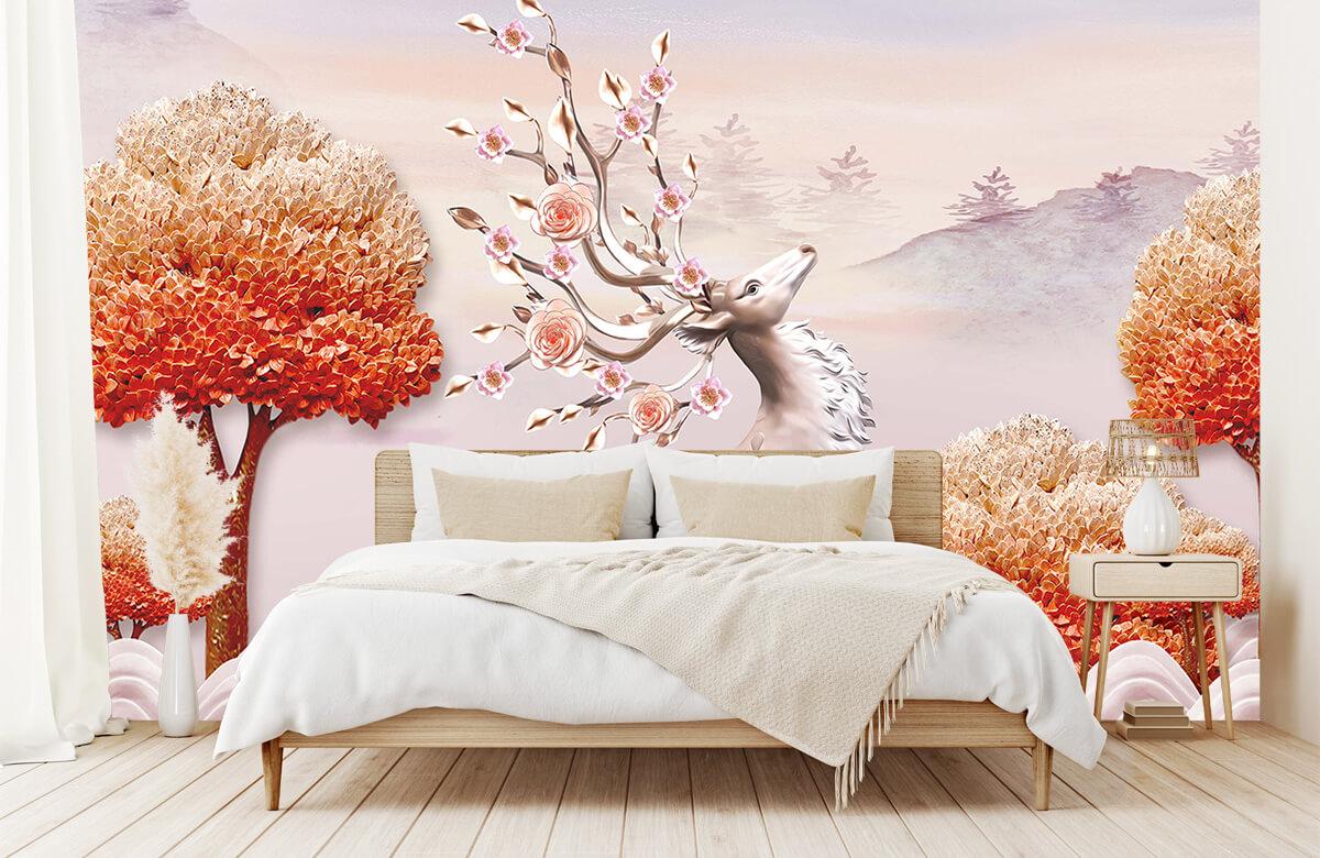 wallpaper Cerf avec des fleurs 5