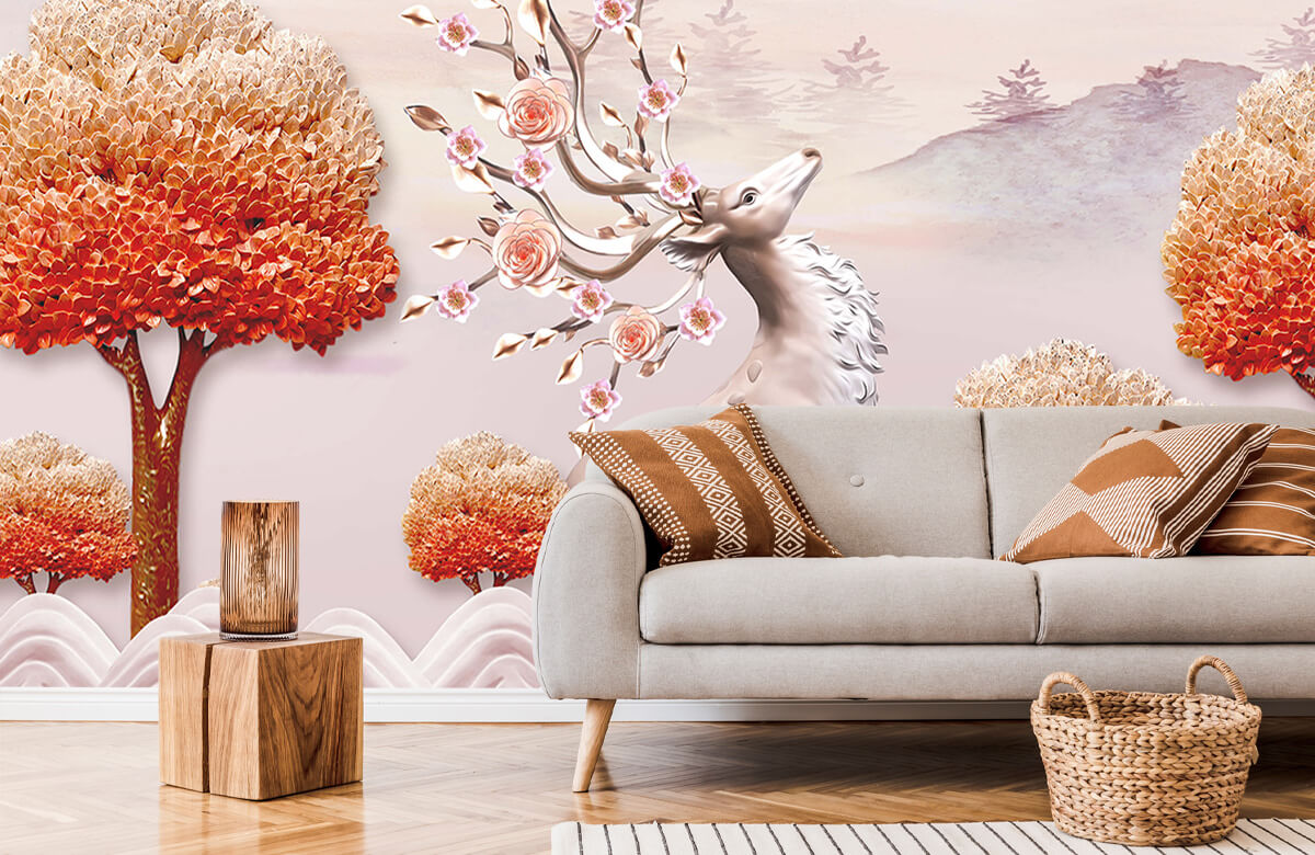 wallpaper Cerf avec des fleurs 6
