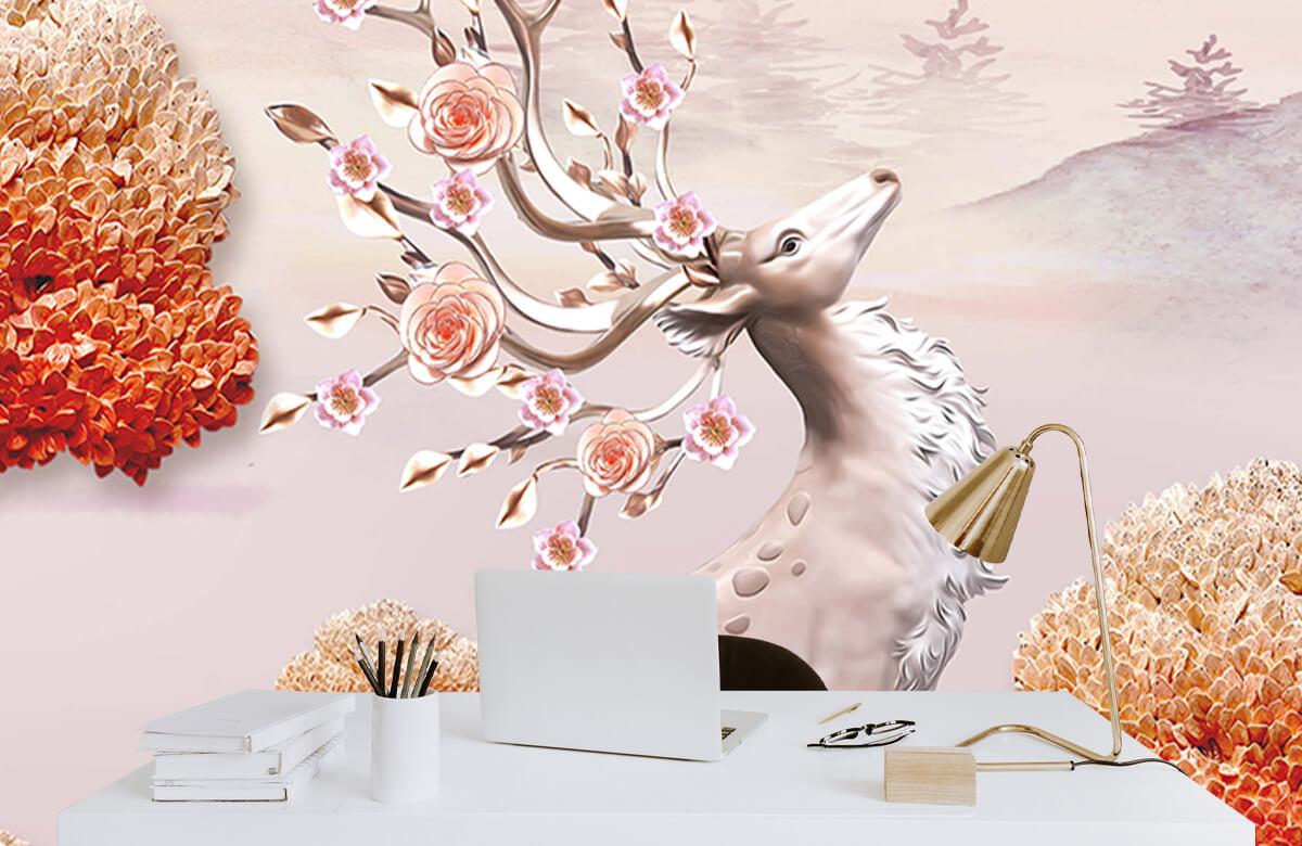 wallpaper Cerf avec des fleurs 7