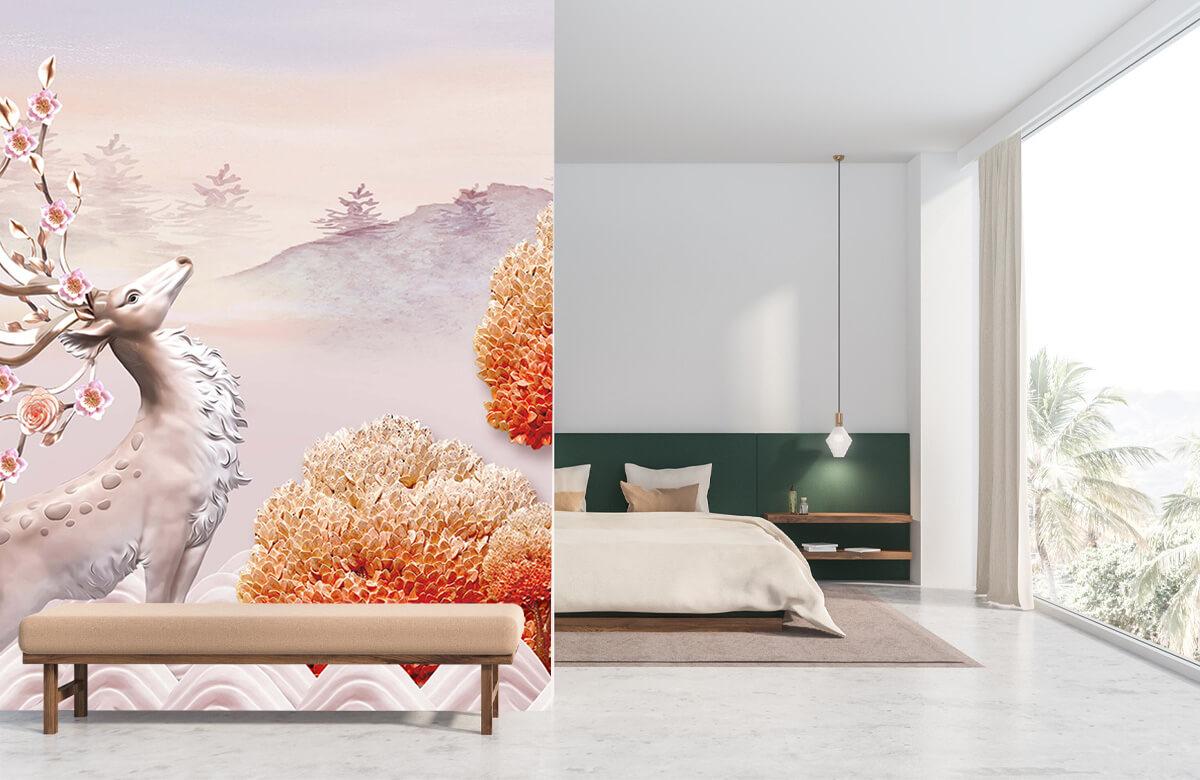 wallpaper Cerf avec des fleurs 8