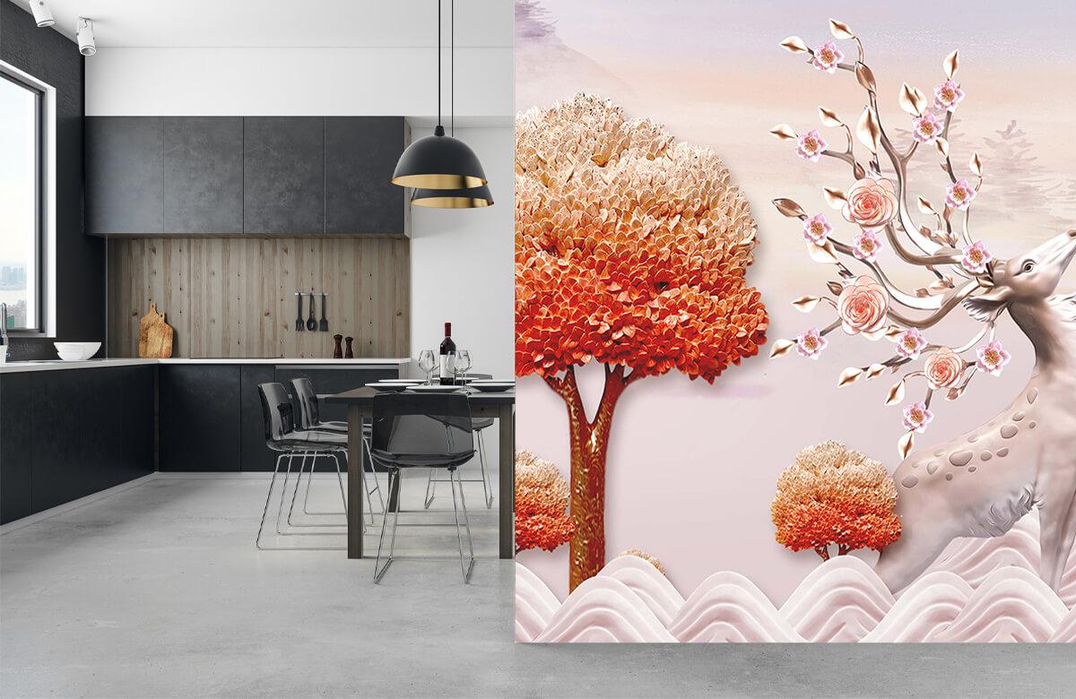 wallpaper Cerf avec des fleurs 9