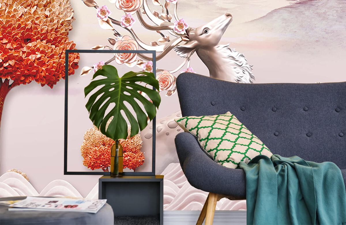 wallpaper Cerf avec des fleurs 10