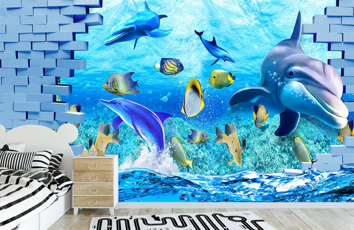wallpaper Des dauphins derrière un mur 2