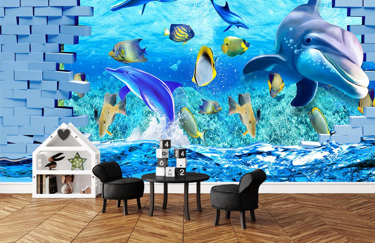 wallpaper Des dauphins derrière un mur 3
