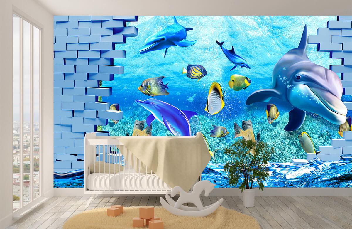 wallpaper Des dauphins derrière un mur 4
