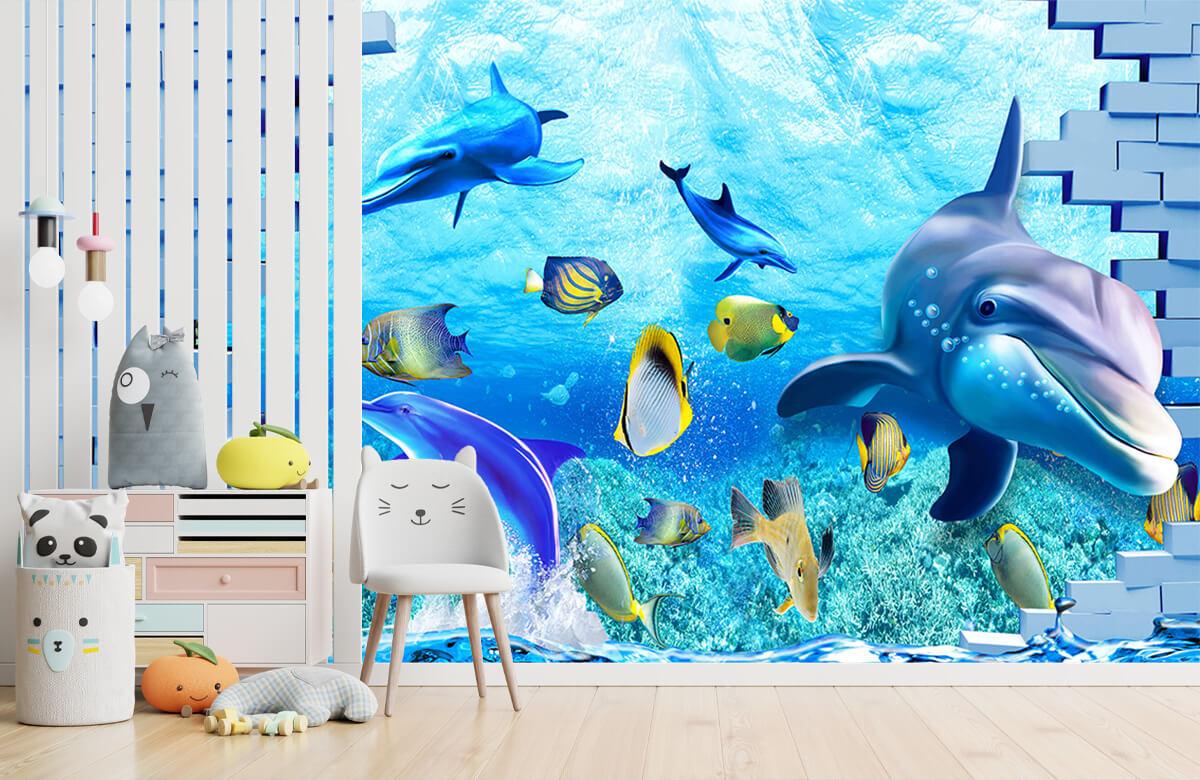 wallpaper Des dauphins derrière un mur 1