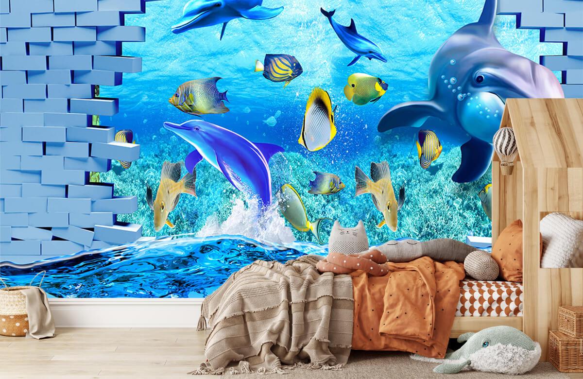 wallpaper Des dauphins derrière un mur 5
