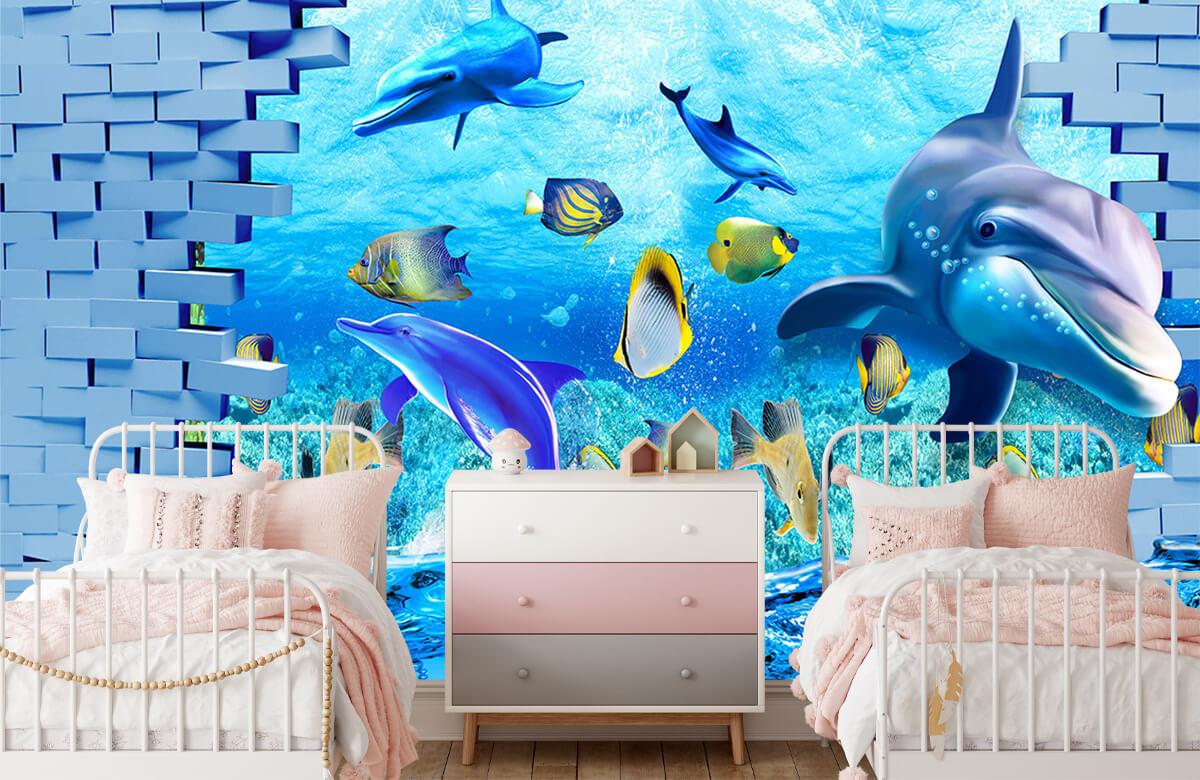 wallpaper Des dauphins derrière un mur 6