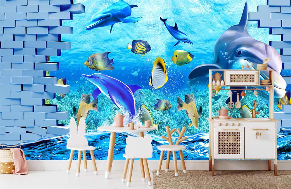 wallpaper Des dauphins derrière un mur 8