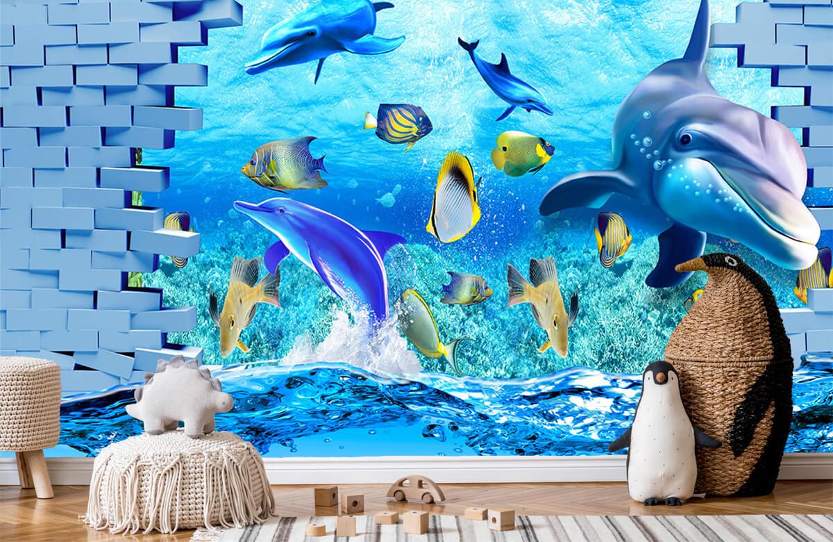 wallpaper Des dauphins derrière un mur 9