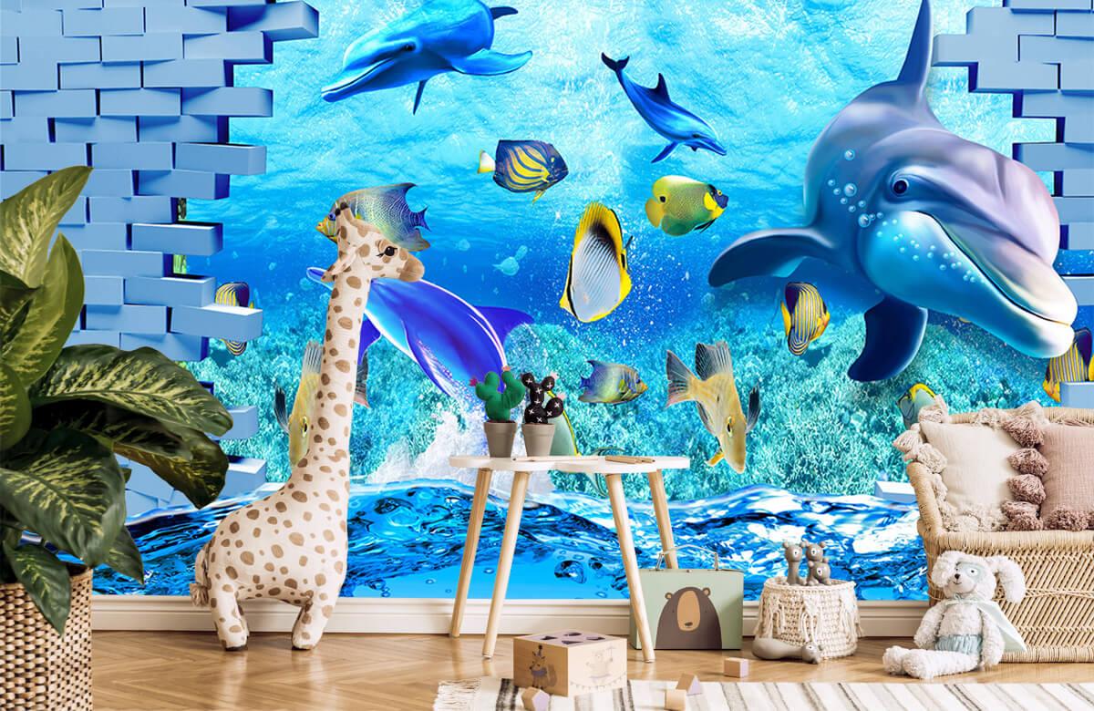 wallpaper Des dauphins derrière un mur 10