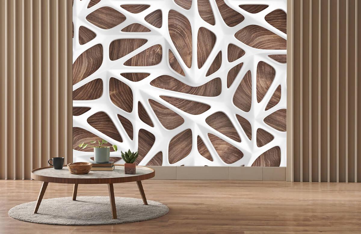 wallpaper Motif blanc sur bois 3
