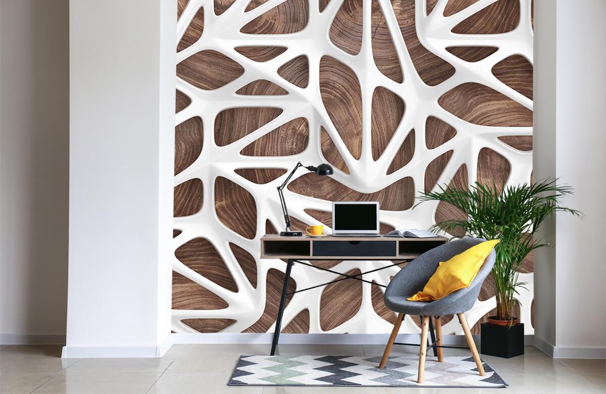 wallpaper Motif blanc sur bois 5