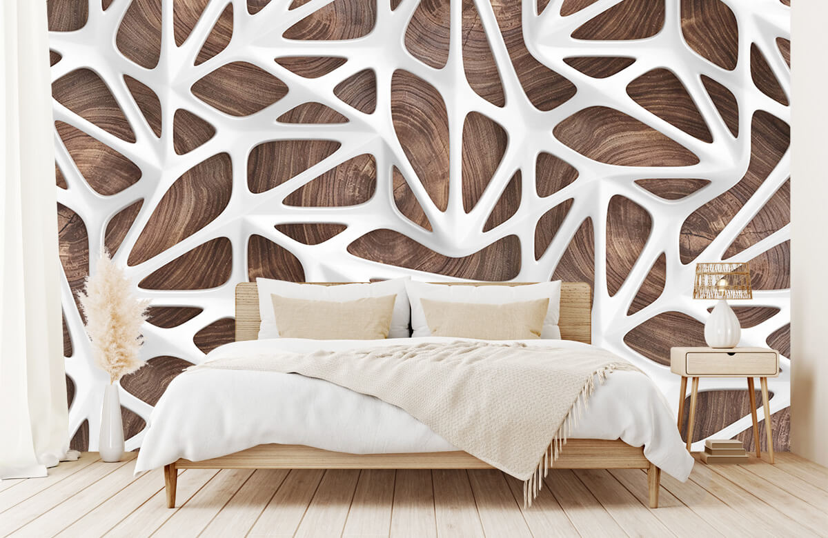 wallpaper Motif blanc sur bois 6