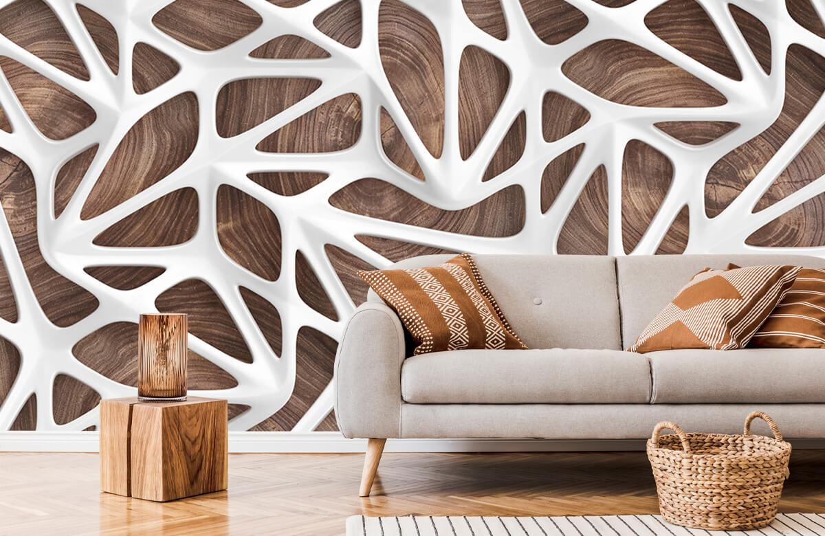 wallpaper Motif blanc sur bois 1