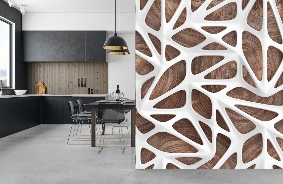 wallpaper Motif blanc sur bois 9