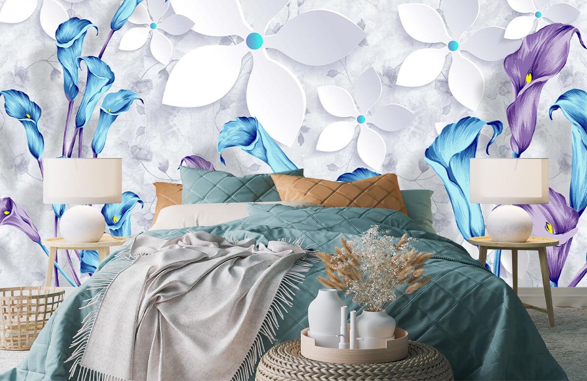 Wallpaper Fleurs bleues et blanches 2