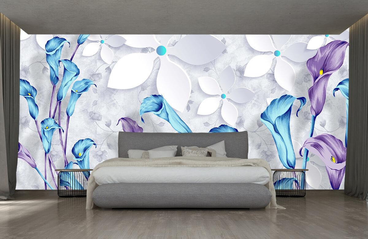 Wallpaper Fleurs bleues et blanches 3