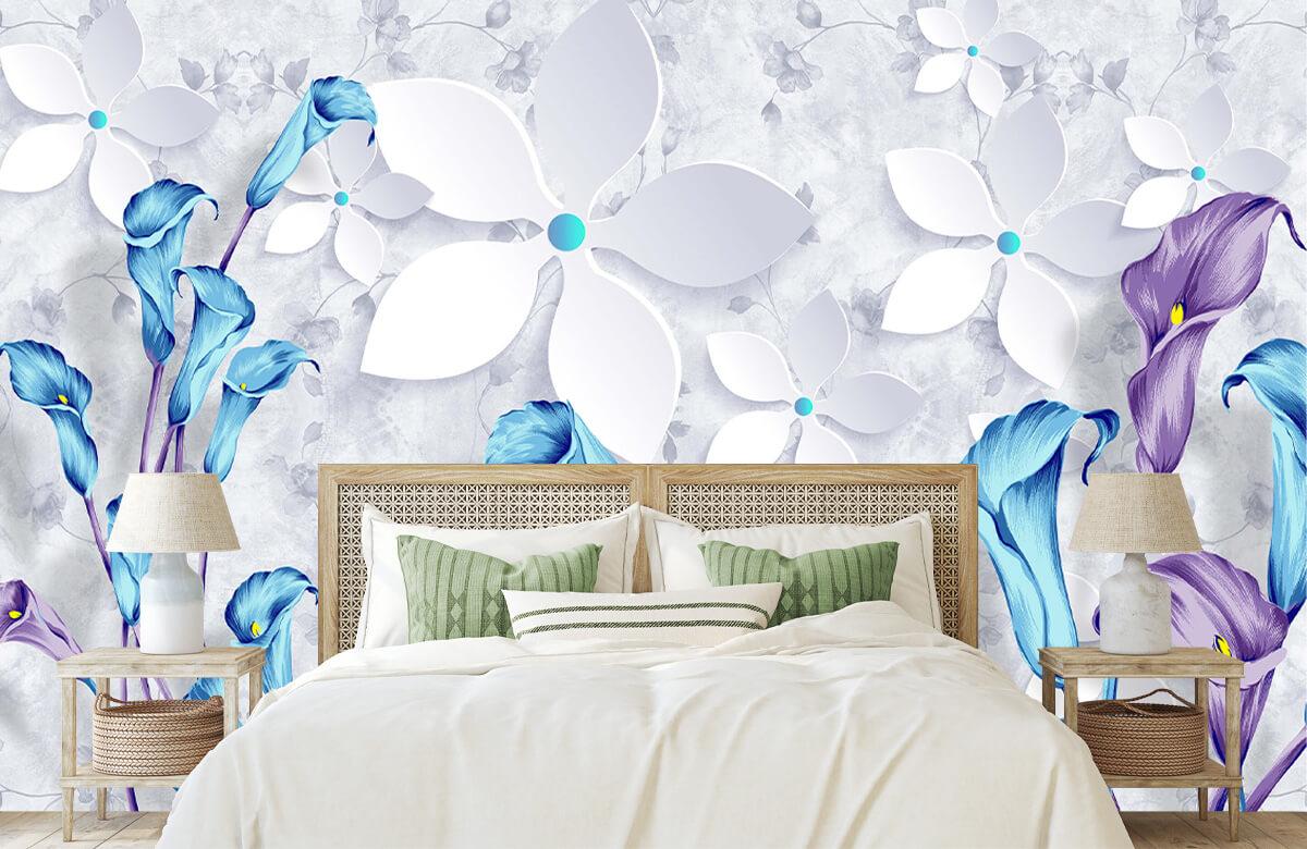 Wallpaper Fleurs bleues et blanches 4