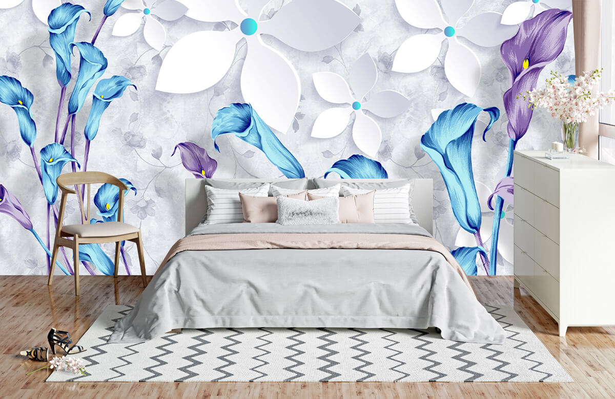 Wallpaper Fleurs bleues et blanches 5
