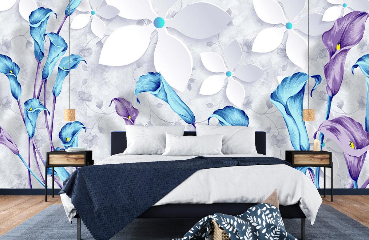 Wallpaper Fleurs bleues et blanches 6