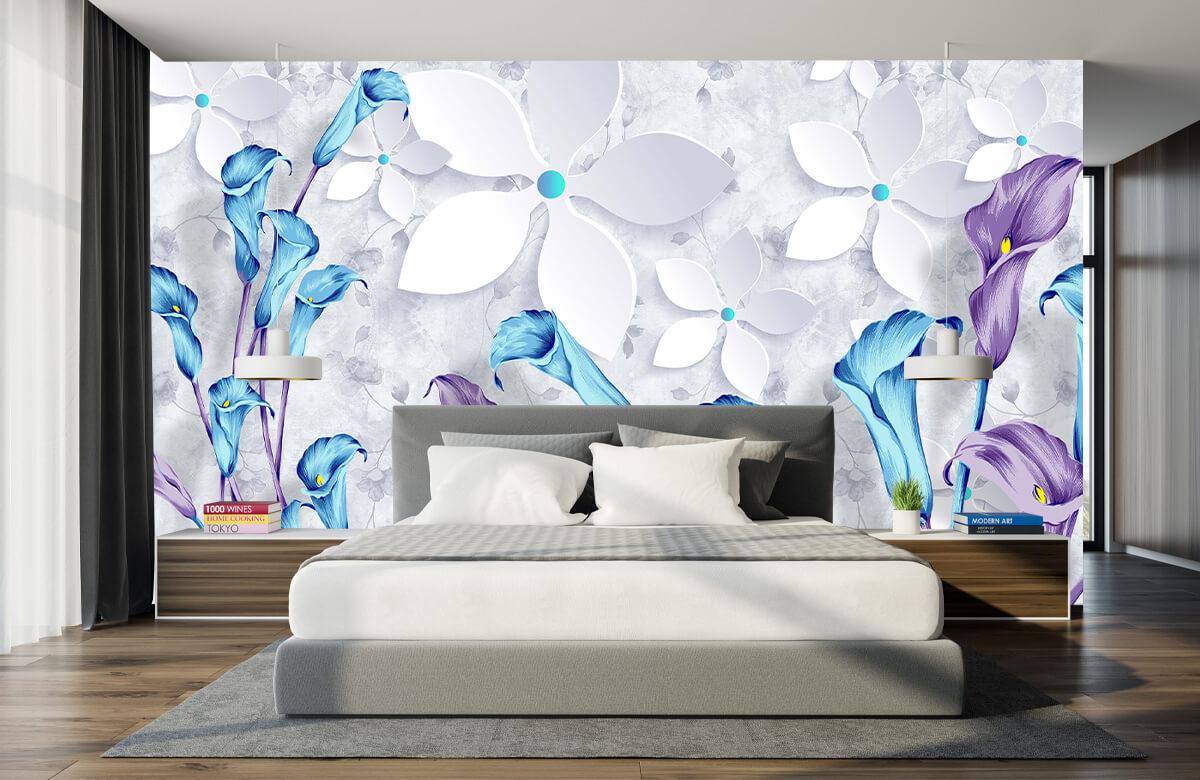 Wallpaper Fleurs bleues et blanches 7