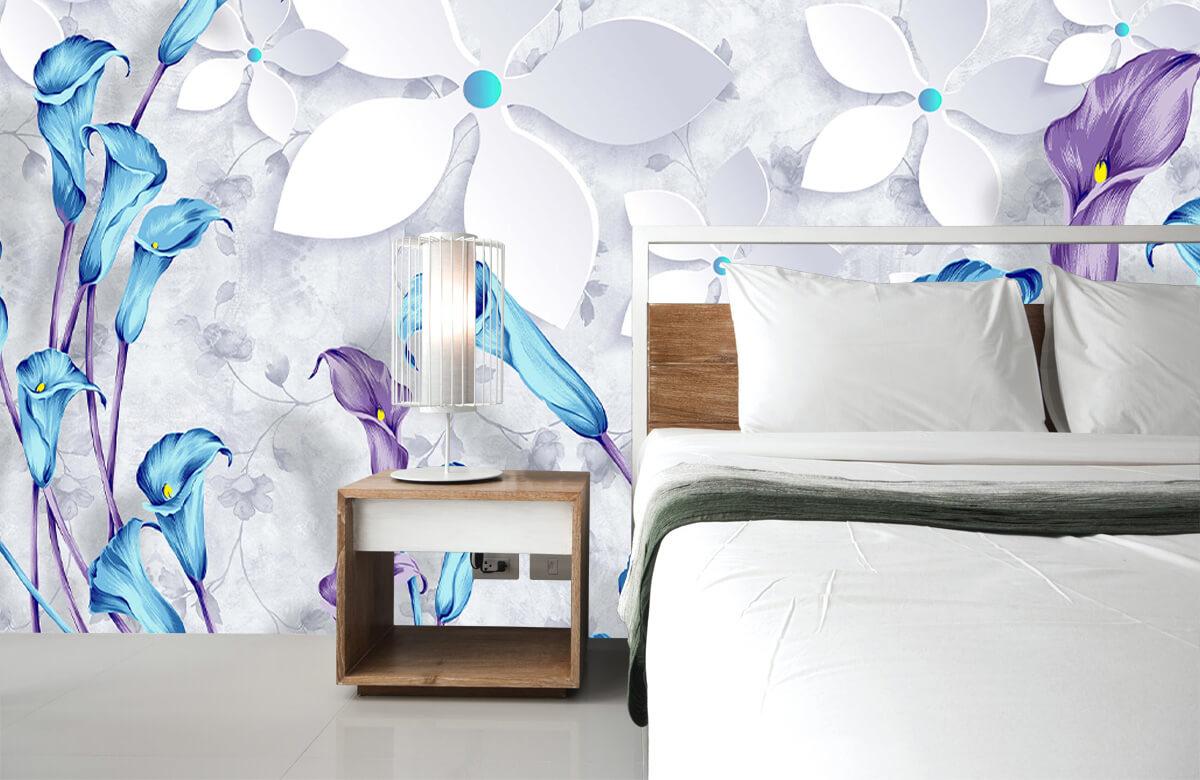 Wallpaper Fleurs bleues et blanches 8