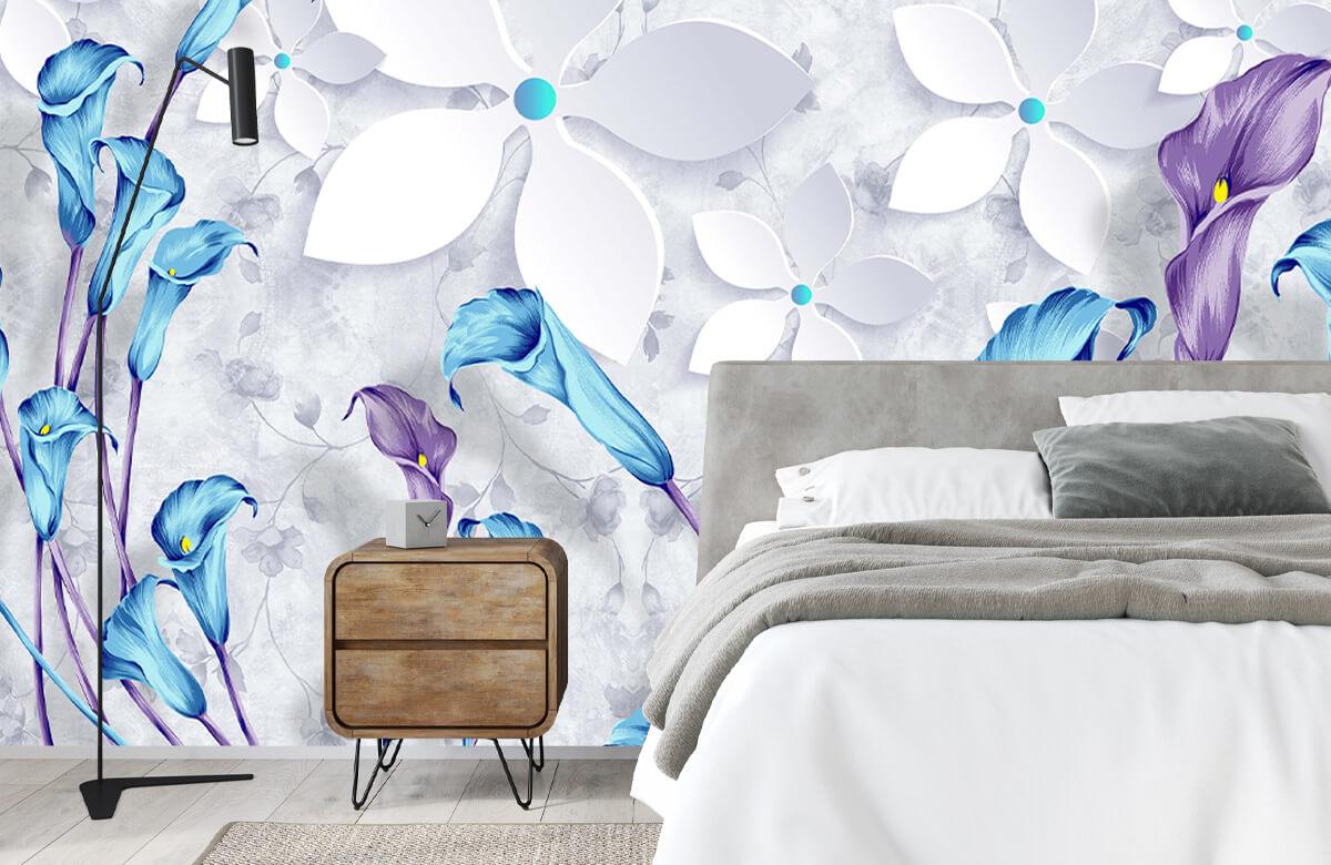 Wallpaper Fleurs bleues et blanches 9