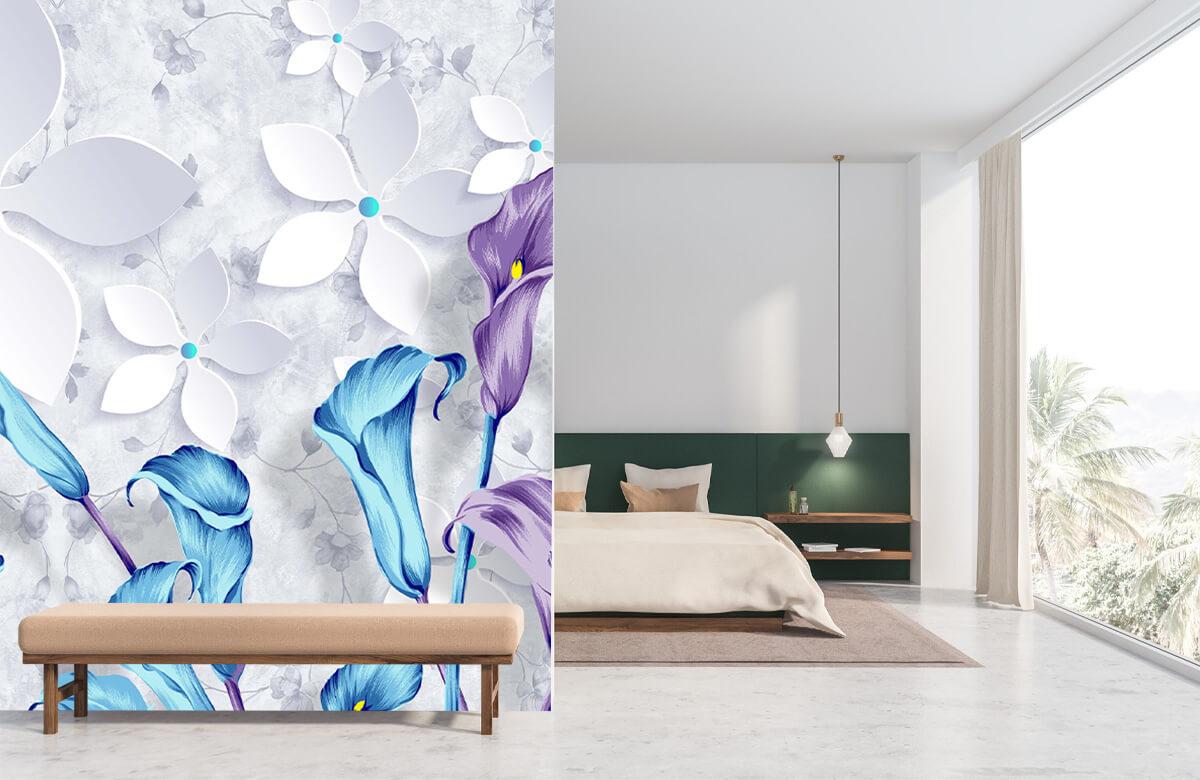 Wallpaper Fleurs bleues et blanches 10
