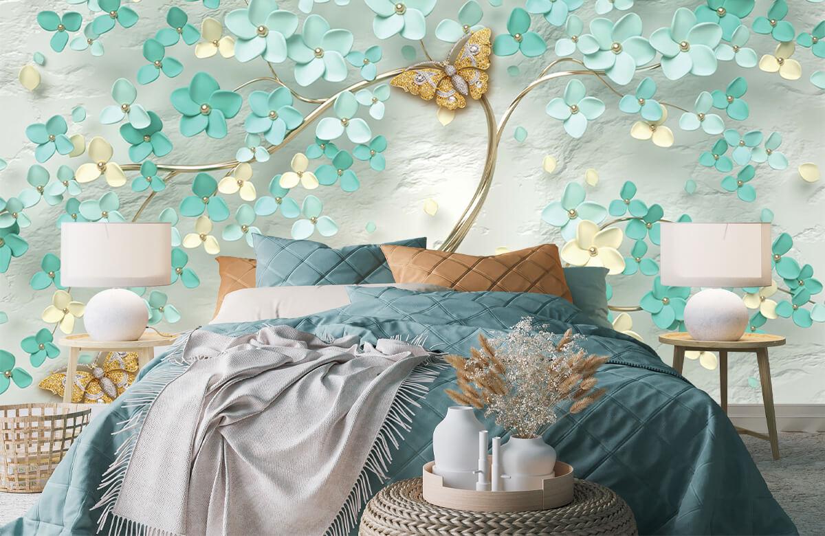 Wallpaper Arbre fantaisie doré avec des fleurs vertes 1