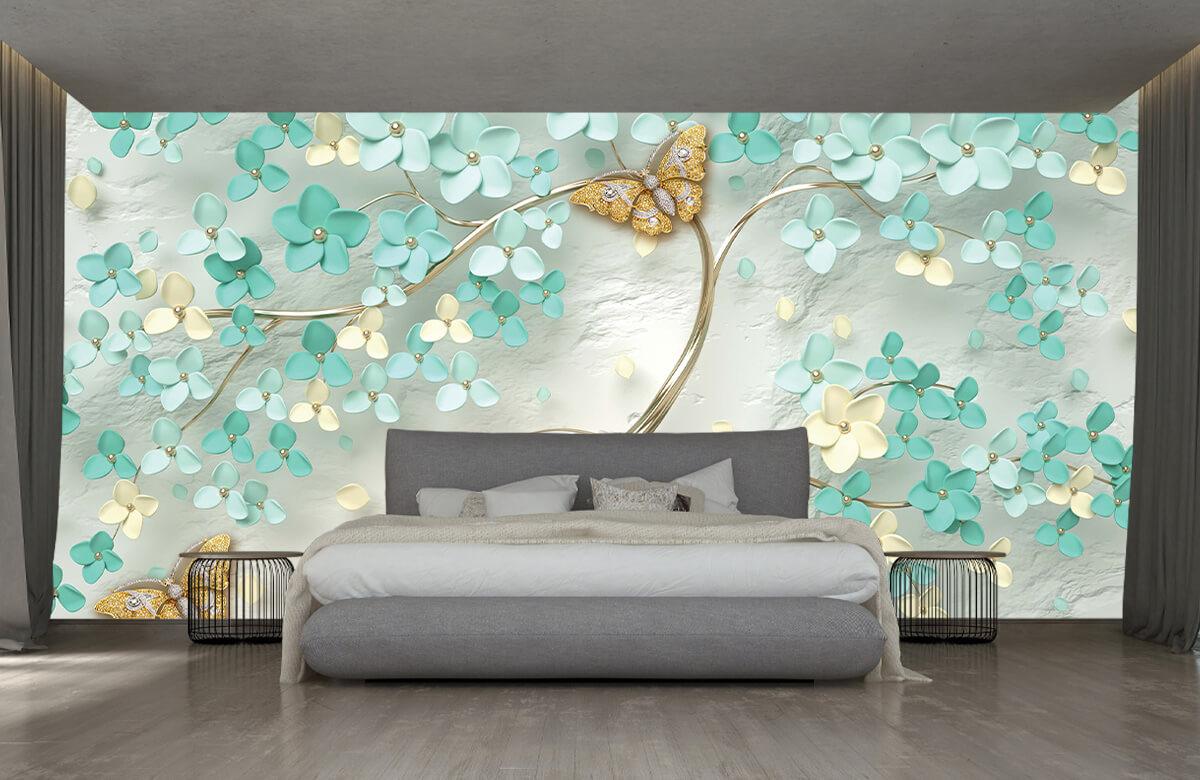 Wallpaper Arbre fantaisie doré avec des fleurs vertes 5