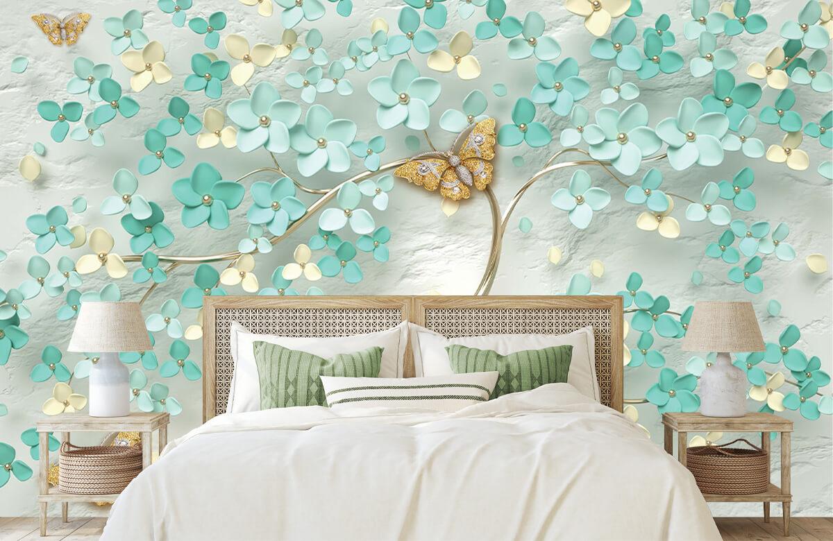 Wallpaper Arbre fantaisie doré avec des fleurs vertes 3