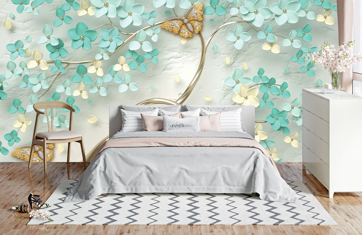Wallpaper Arbre fantaisie doré avec des fleurs vertes 4