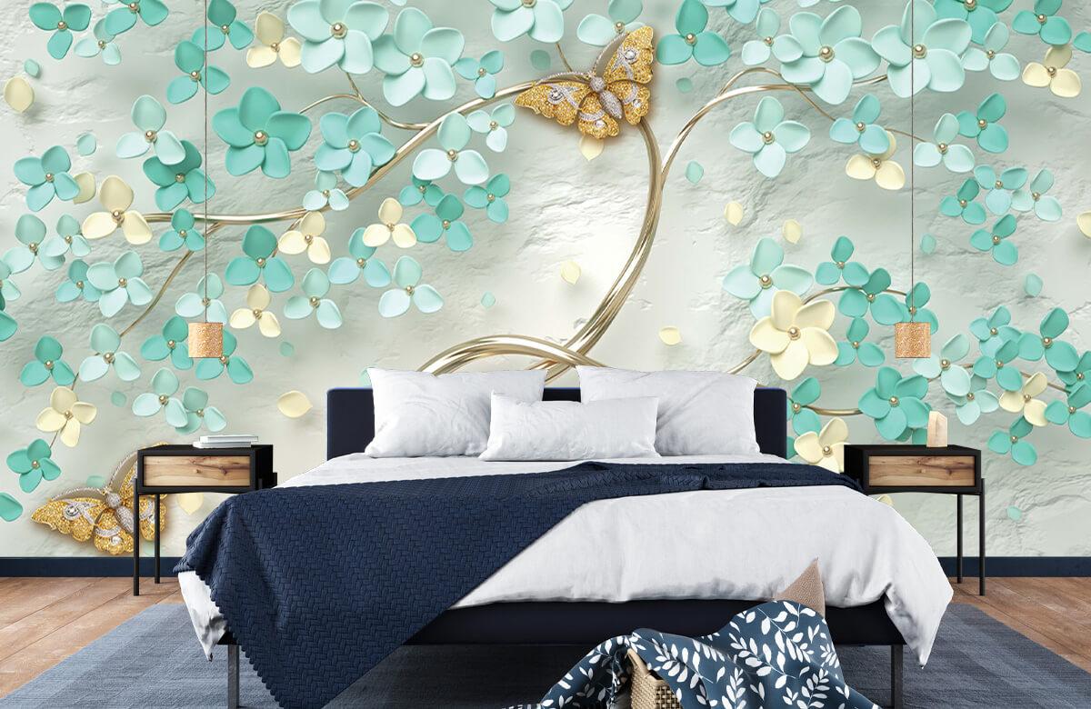 Wallpaper Arbre fantaisie doré avec des fleurs vertes 6