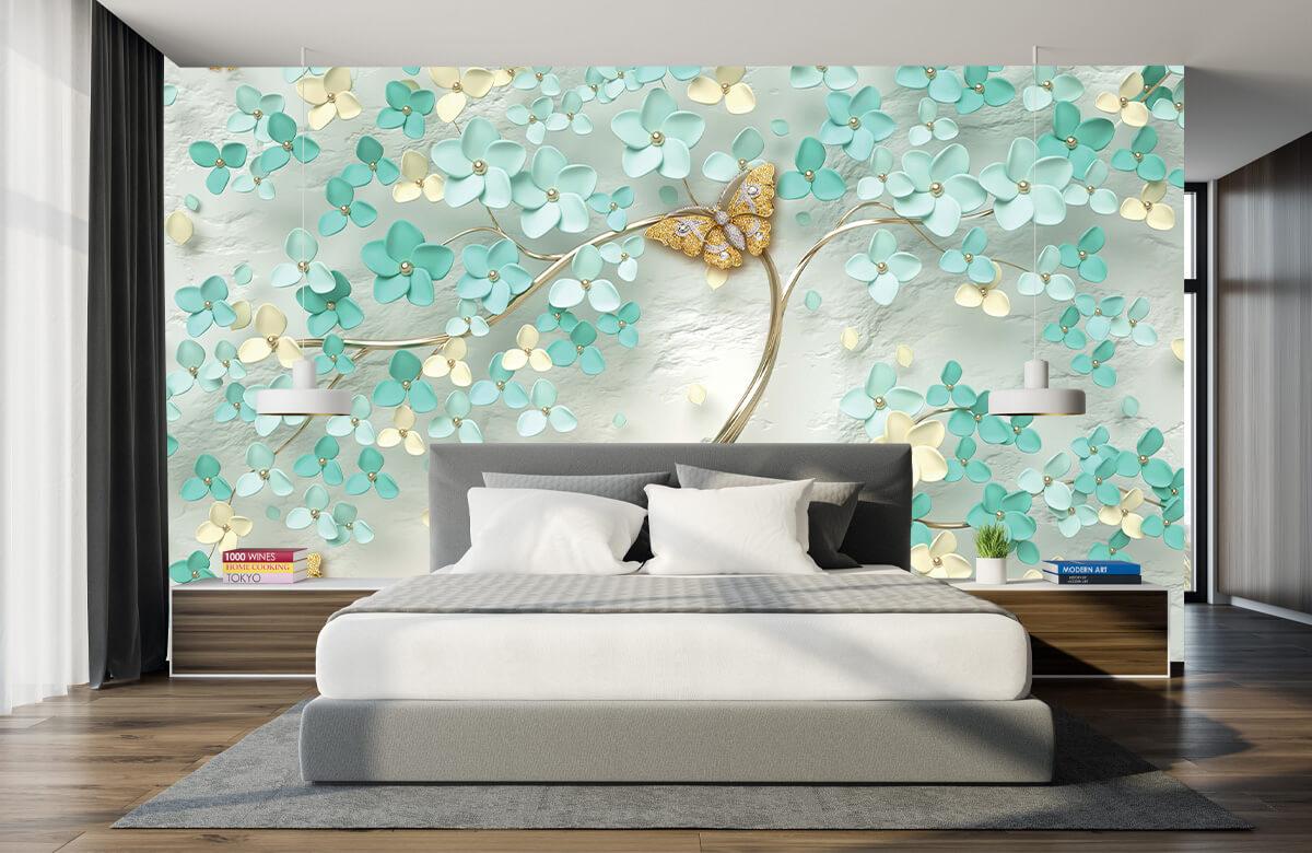 Wallpaper Arbre fantaisie doré avec des fleurs vertes 7