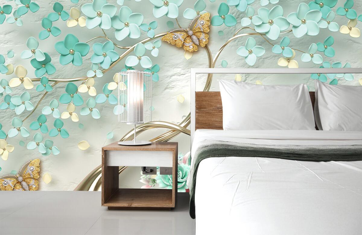 Wallpaper Arbre fantaisie doré avec des fleurs vertes 8