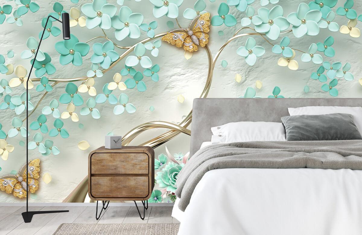 Wallpaper Arbre fantaisie doré avec des fleurs vertes 9