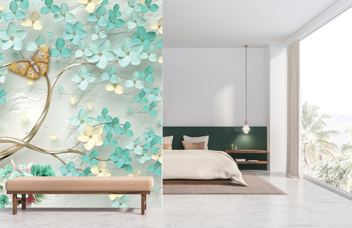 Wallpaper Arbre fantaisie doré avec des fleurs vertes 10