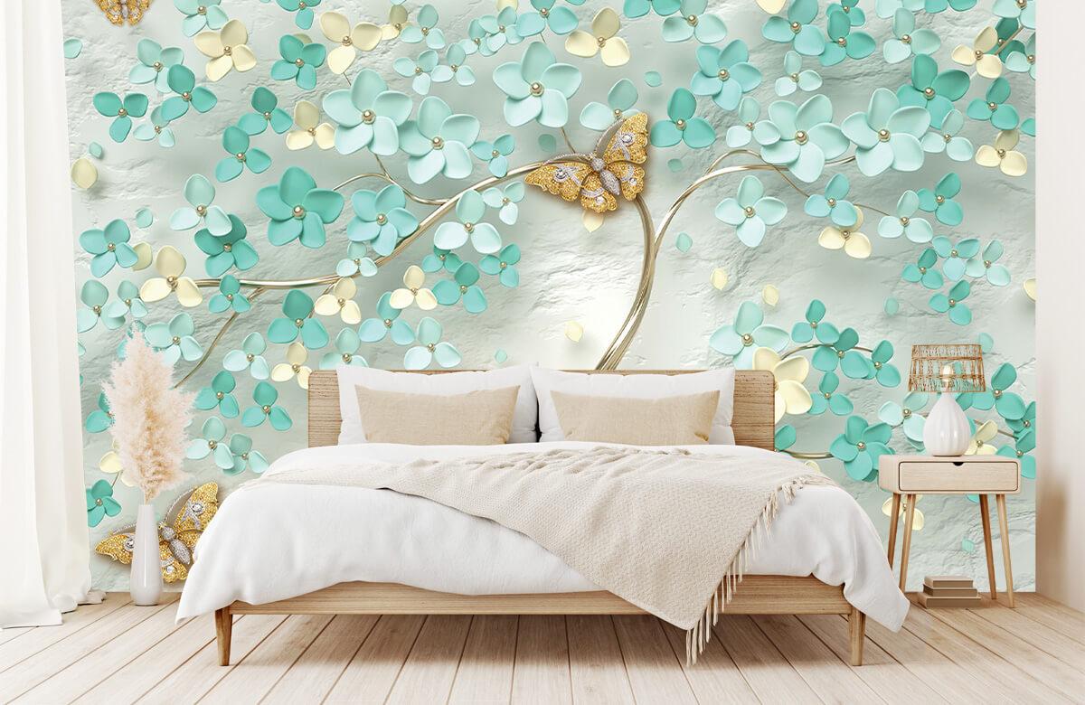 Wallpaper Arbre fantaisie doré avec des fleurs vertes 2