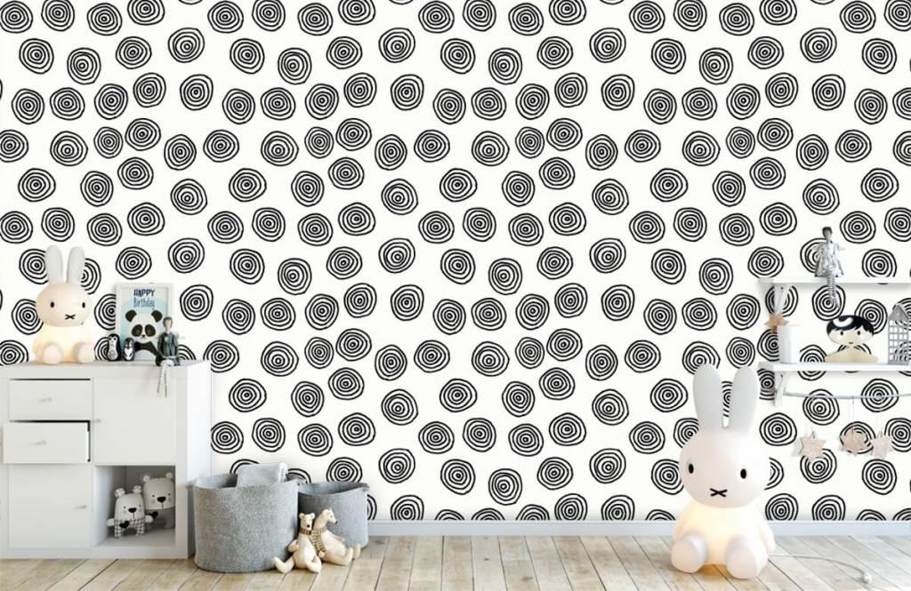 Abstrait - Cercles abstraits en noir et blanc - Salle de Loisirs 1