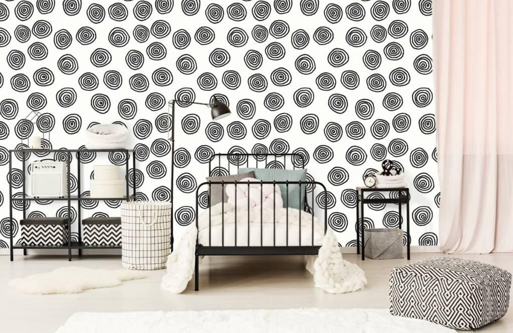 Abstrait - Cercles abstraits en noir et blanc - Salle de Loisirs 2