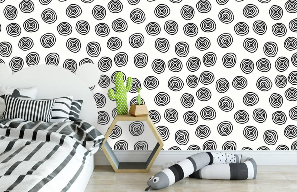 Abstrait - Cercles abstraits en noir et blanc - Salle de Loisirs 3