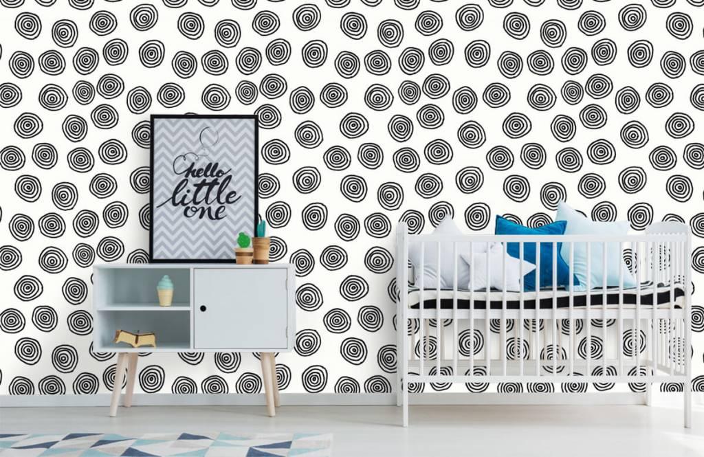 Abstrait - Cercles abstraits en noir et blanc - Salle de Loisirs 6